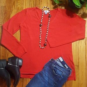🍁Old Navy Red Sweater V Neck, Soft & Comfy!